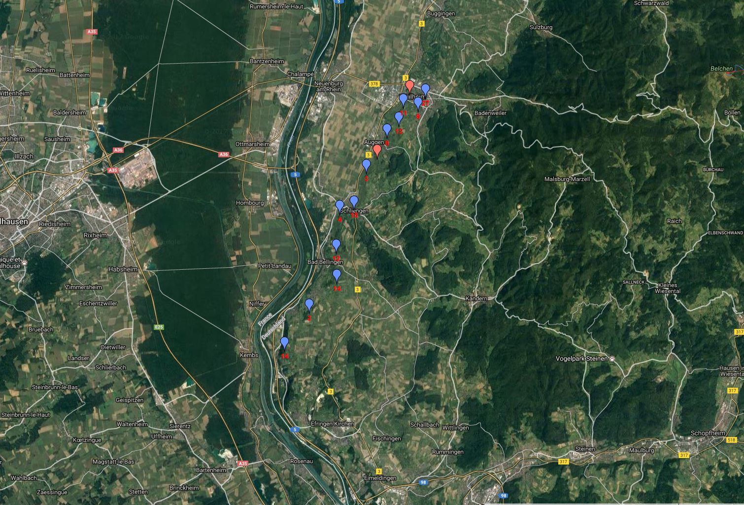 170527000_BK2_Tagestour Schliengen Bad Bellingen Rheinweiler Auggen, Kleinkembs